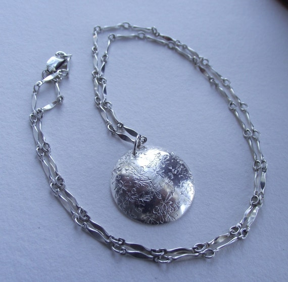 Glistening Snowflake Necklace---Stamped Dome Snowflake----20 inches