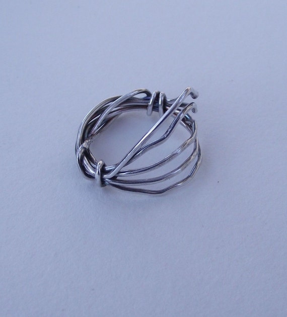 Lindsey---Weaved and Wound Sterling Silver Wire Ring---Antique Finish---Size 8.5