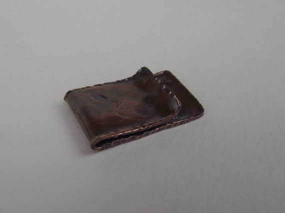 Short and Chubby Heavy Textured  Copper Money Clip---Pleated Sides