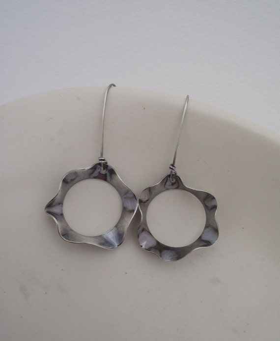 Heather---Large Wavy  Sterling Silver Earrings---Antique Finish Flower Dangle