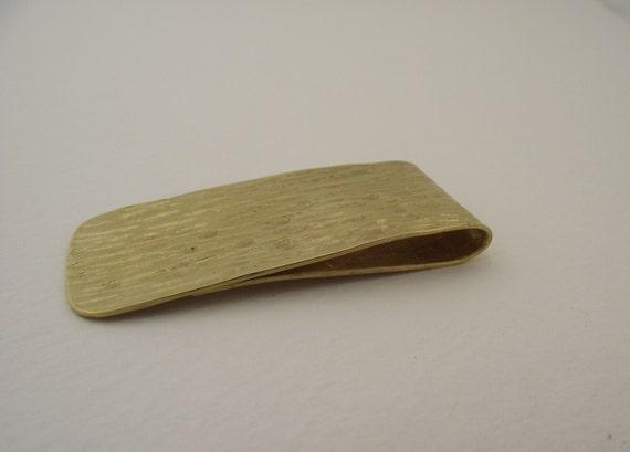 Brass  Money Clip---Shiny  Finish with Heavy Line Texture