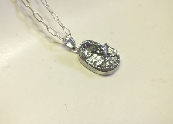 Pear Shaped  Raw Pyrite and Sterling Silver  Necklace with Shiny Finish