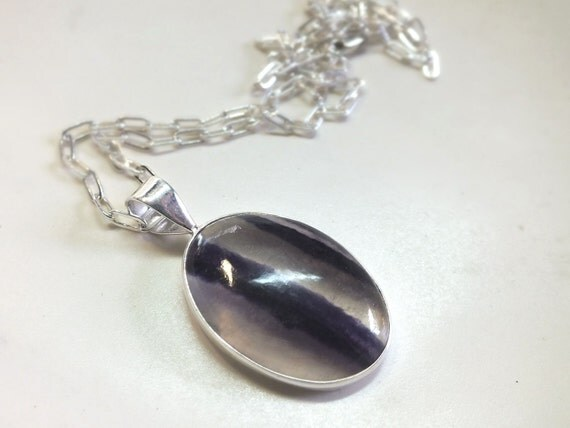 Oval  Shaped Fluorite  set in Sterling Silver Necklace