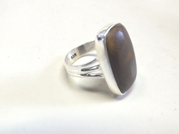 Gorgeous Boulder Opal and Sterling Silver Ring---Size  8 1/4