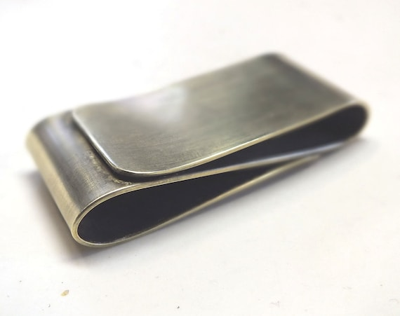 Mens Double Sided Brass Money Clip--- S Shape Antique  Finish with Your Choice of Texture