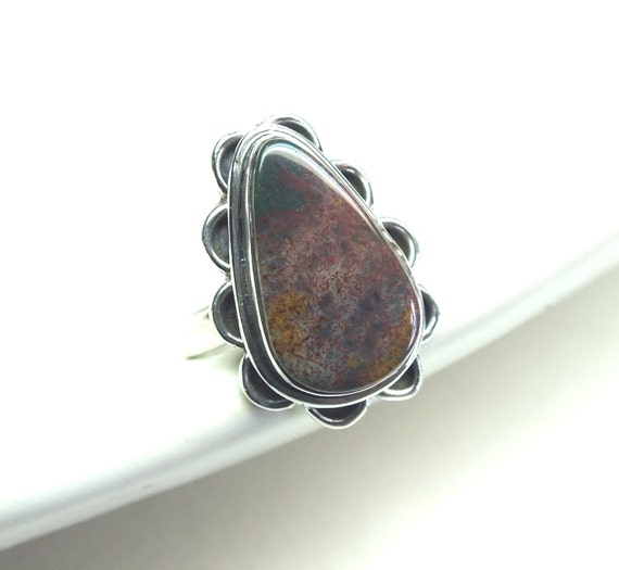 Pear Shaped Bloodstone and Sterling Silver Ring---Size 7