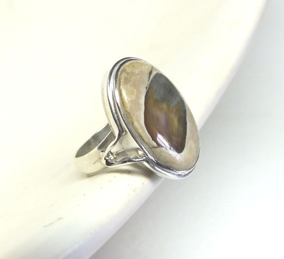 Petrified Wood and Sterling Silver Ring----Size 5