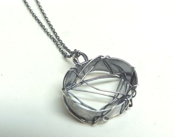 Spider Webs---Sterling Silver Oval---Weaved and Woven with Antique Finish