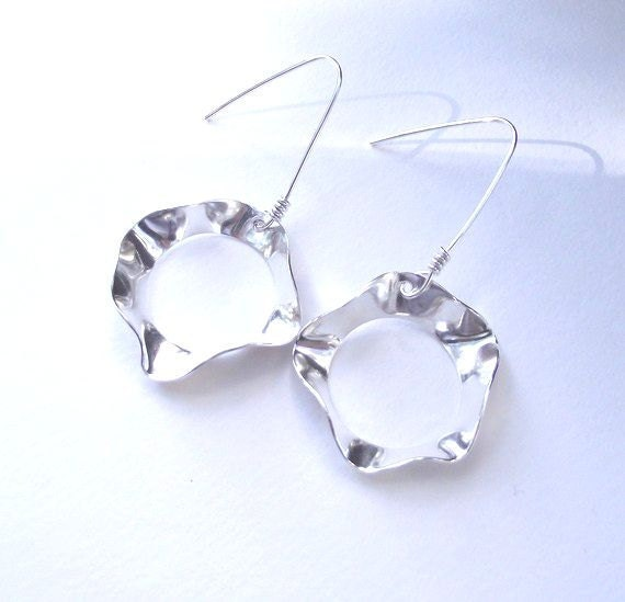 Shiny Finish Heather Earrings---Free form Sterling Silver Earrings