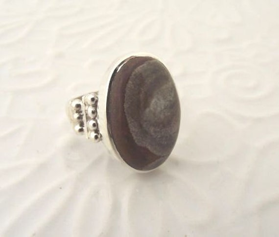 Oval Mushroom Rhyolite Sterling Silver Ring---Size 8