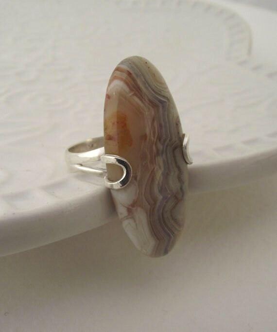 Oval Shaped Ocean Jasper Sterling Silver Ring---Size 8