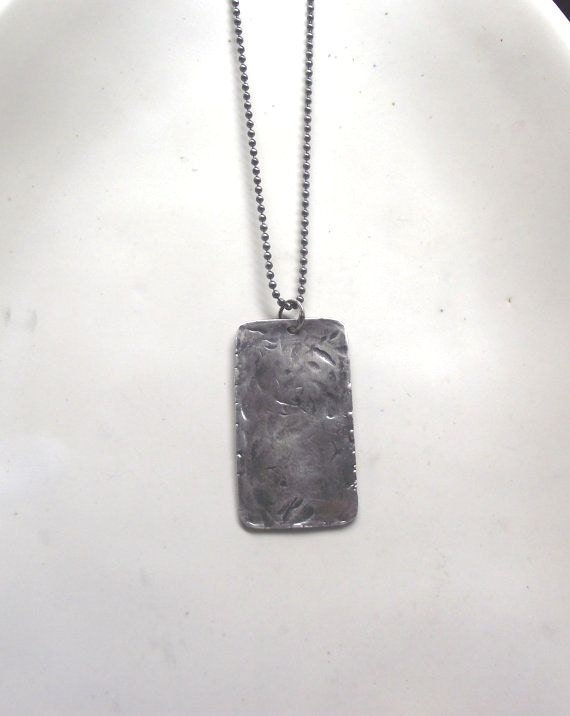 Heavy Textured Dog Tag Necklace---Antiqued Finish