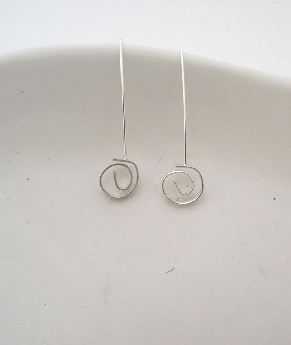 Sterling Silver Swirl Earrings---Shiny Silver Finish