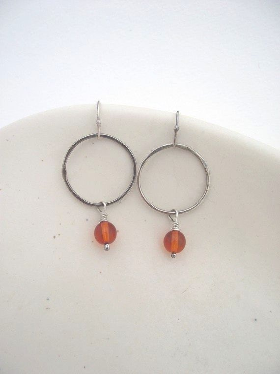 Orange Blossom Earrings---Sterling Silver Hoops  with Bright Orange Czech Glass Bead Earrings