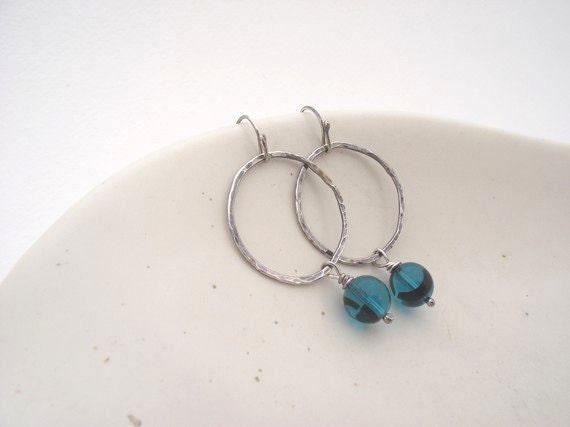 Cerulean Dream Earrings---Sterling Silver Hoops with Blue Green Czech Glass Bead Earrings