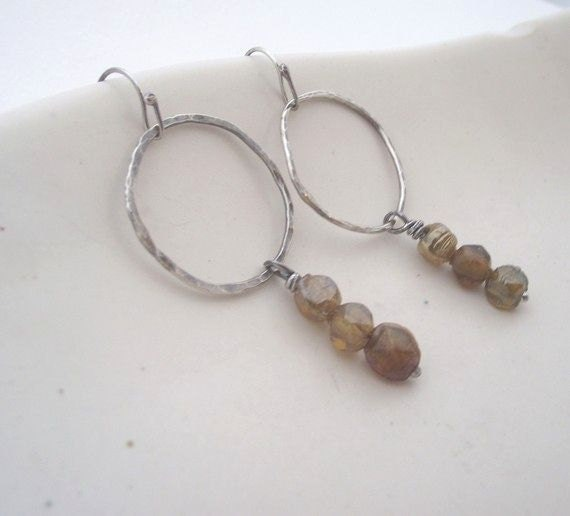 Drops of Honey  Earrings---Sterling Silver Hoop with Three Czech Glass Bead Dangle Earrings