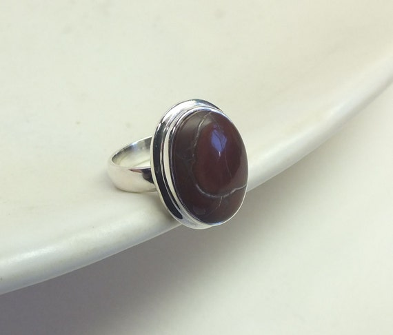 Oval Red Jasper and Sterling Silver Ring---Size 8