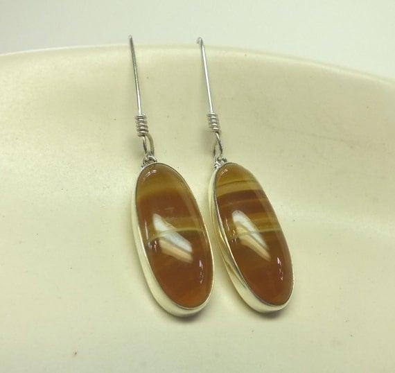Orange Botswana Agate and Sterling Silver Earrings