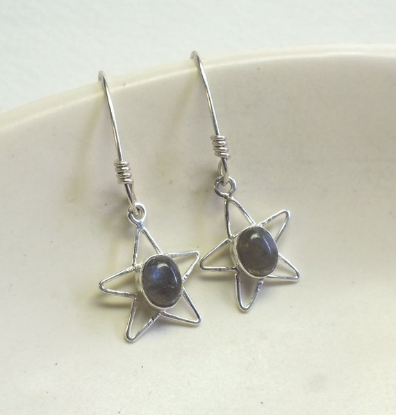 Oval Labradorite  and Sterling Silver Star  Dangles