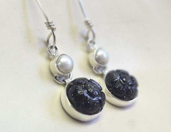 Blue Goldstone and Pearl with Sterling Silver Dangle Earrings