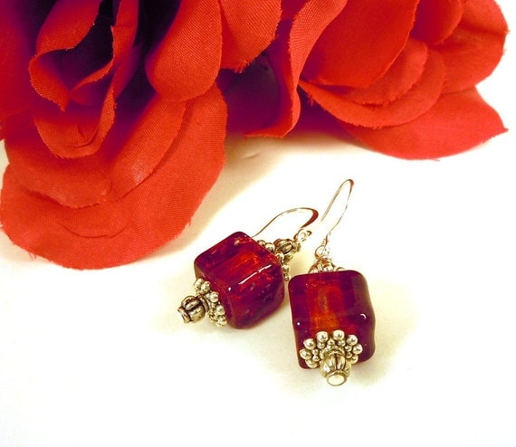 Ruby Red Glass Earrings Cubes with Silver