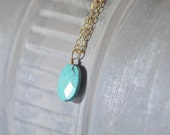 Blue Green Treasure  Turquoise Pendant on a Mid Length Sterling silver Chain