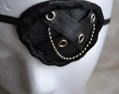 Black Leather Eyepatch and Pastie Set