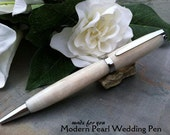 Wedding Guest Book Pen - Modern White Pearl Writing Pen - Free Engraving