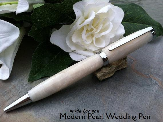 Wedding Guest Book Pen - Modern White Pearl Writing Pen - Free Engraving