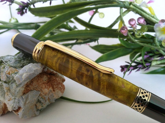 Golden Maple Burl Hand-Crafted Wood Writing Pen - FREE Engraving
