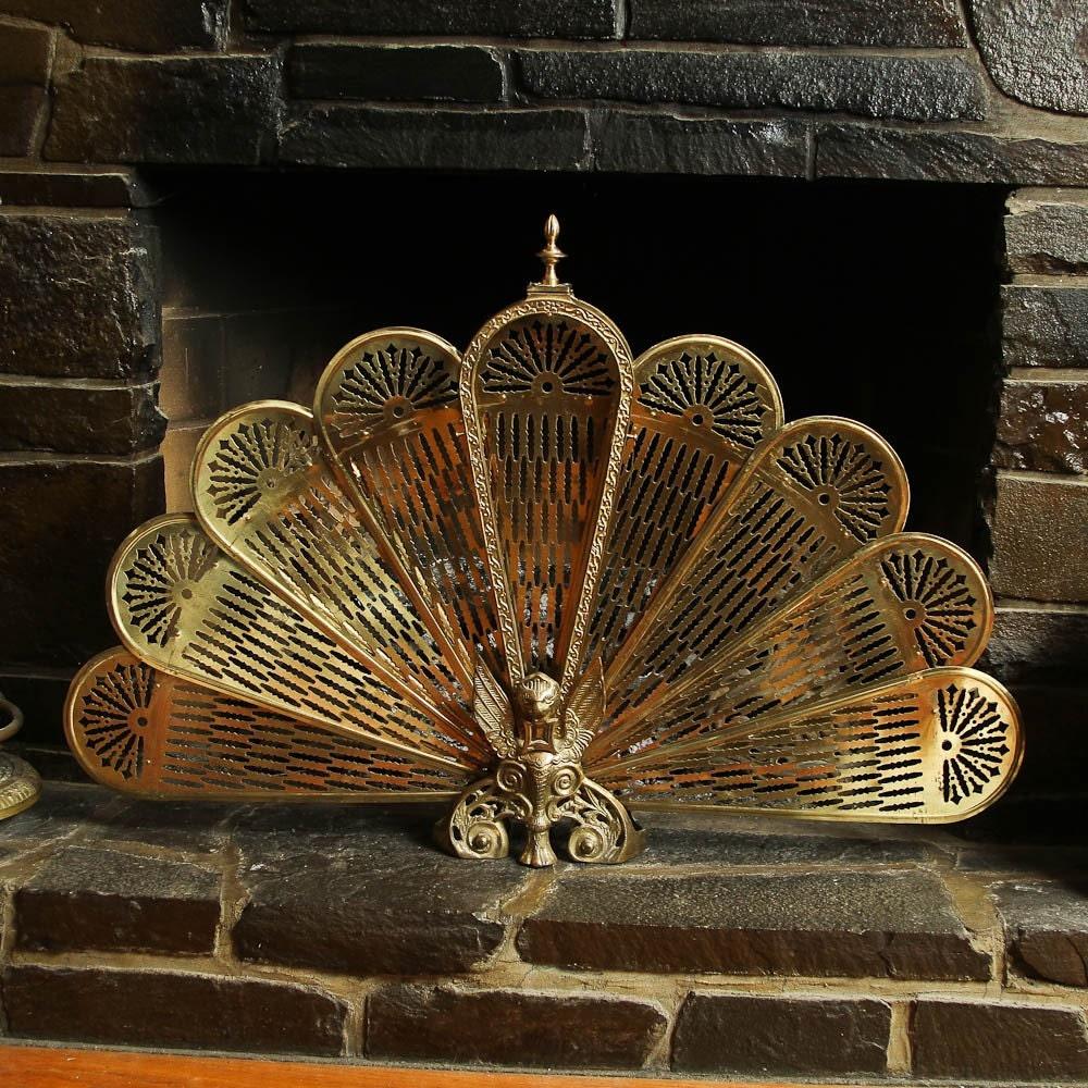 Vintage Solid Brass Griffin Fireplace Fan Screen