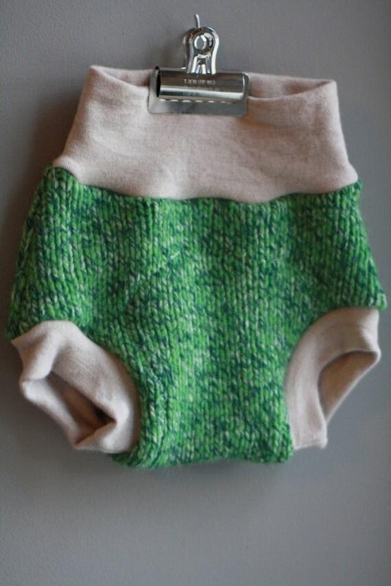 Lambie Love Wool Soaker--Size MEDIUM--Mottled Green & Gray --Cloth Diaper Cover