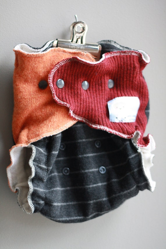 Lambie Love Wool Wrap--One Size Fits Most-Charcoal Stripe, Orange & Red Wool--Cloth Diaper Cover