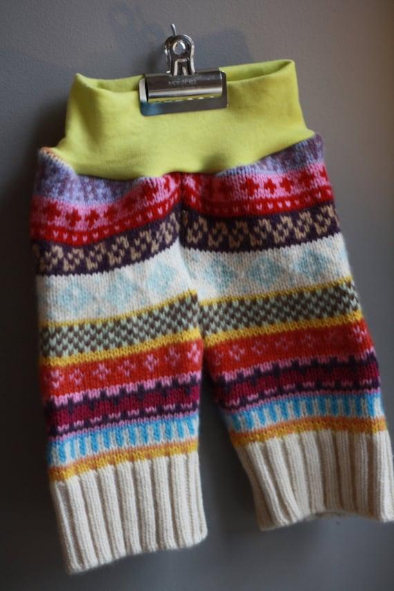 Lambie Love Wool Shortie Capris---Size MEDIUM/LARGE--Rainbow Wool & Bright Yellow--Wool Cloth Diaper Cover