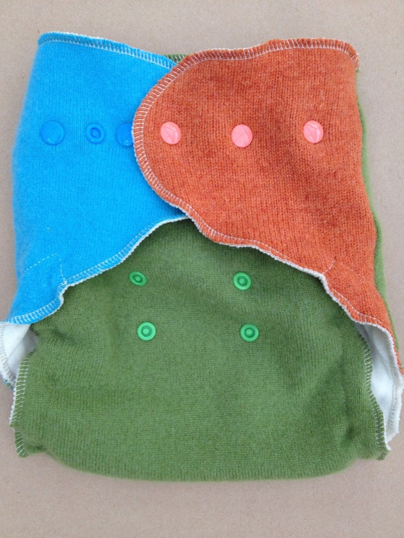 Lambie Love Wool Wrap--One Size Fits Most--Hopscotch--Green, Orange, & Turquoise--Cloth Diaper Cover