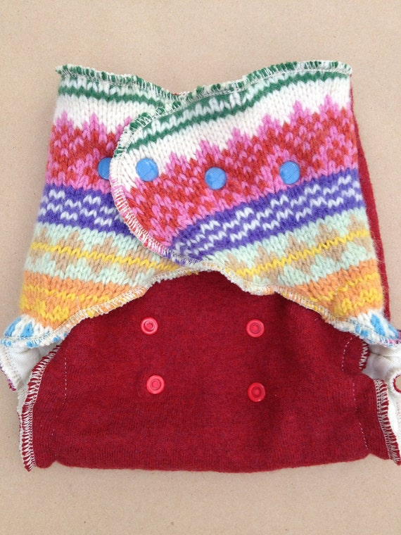 Lambie Love Wool Wrap--One Size Fits Most--Bright and Happy Day--Red & Rainbow--Cloth Diaper Cover