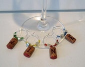Clay Wine Cork Wine Glass Charms- 4 Stemware markers
