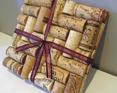 Upcycled Wine Cork Trivets (herringbone pattern)-set of 2