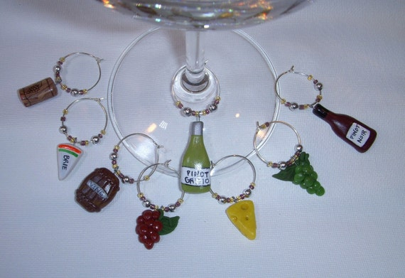 Sculpted Clay Wine Glass Charms-set of 8 stemware markers