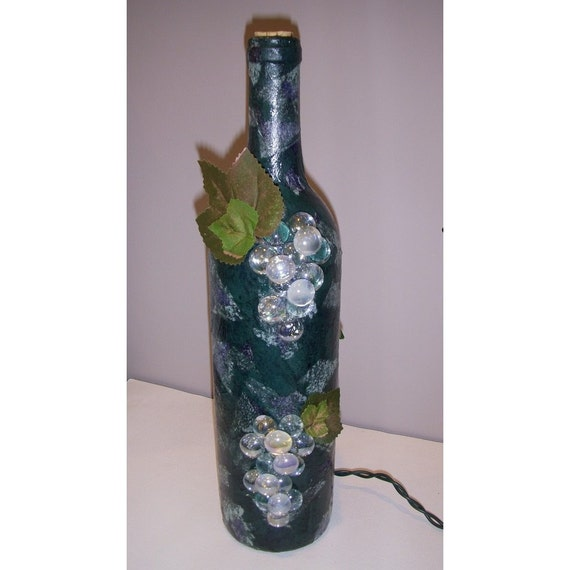 Upcycled Wine Bottle Lamp (blue)