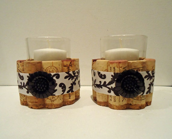 Upcycled Wine Cork Votive Candle holders (Black and White)