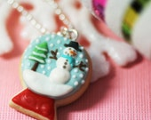 Christmas Snow Globe Sugar Cookie Polymer Clay Food Necklace