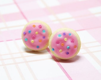 Sugar Cookies With Pink Frosting Stud Earrings Polymer Clay Food Jewelry