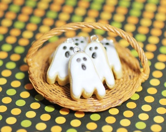 Halloween Jewelry Ghost Cookie Necklace Polymer Clay Food