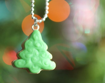 Christmas Tree Cookie Polymer Clay Food Necklace
