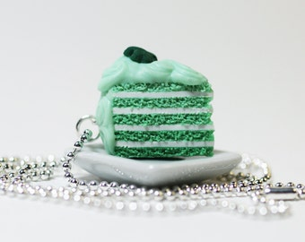 St. Patrick's Day Shamrock Layer Cake Necklace Polymer Clay Jewelry