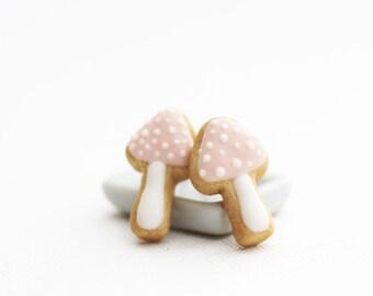 Pink Mushroom Sugar Cookie Earrings Polymer Clay Food