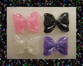 GLiTTeR BoWS Super Cute XL Kawaii Decoden Resin Cabochon Flatback 4 pieces USA SHIPPING