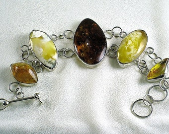 Bracelet. Natural genuine Baltic amber with sterling silver. 100% Natural Genuine Baltic Amber.
