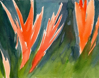 """As They Progressed, 7 x 10 1/4"""" original watercolor painting"""